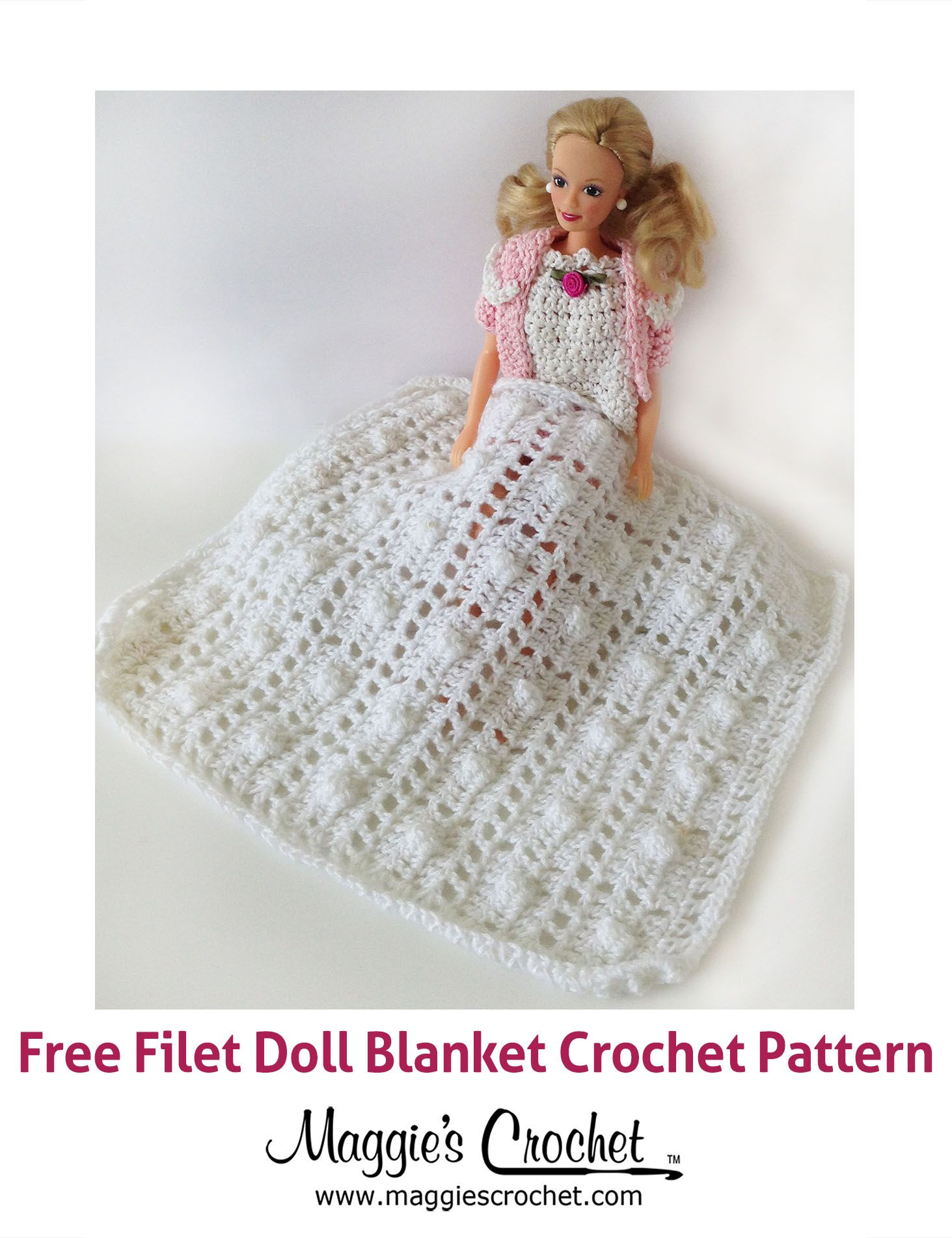 Doll Filet Afghan Free Crochet Pattern + video | Barbie | Pinterest