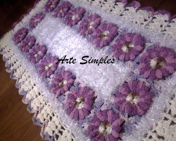 Tapete Felpudo Com Flores Em Croch 234 Arte Simples