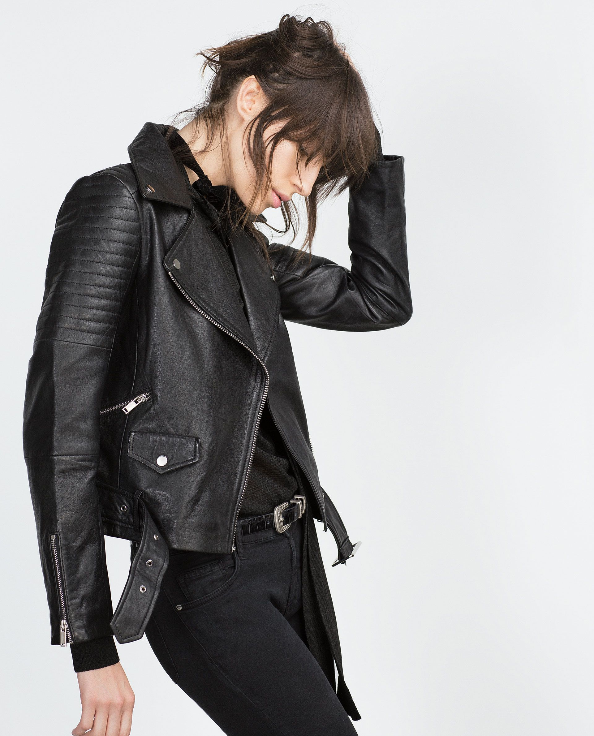 cazadora piel chaquetas mujer zara espa a biker jackets pinterest zara. Black Bedroom Furniture Sets. Home Design Ideas