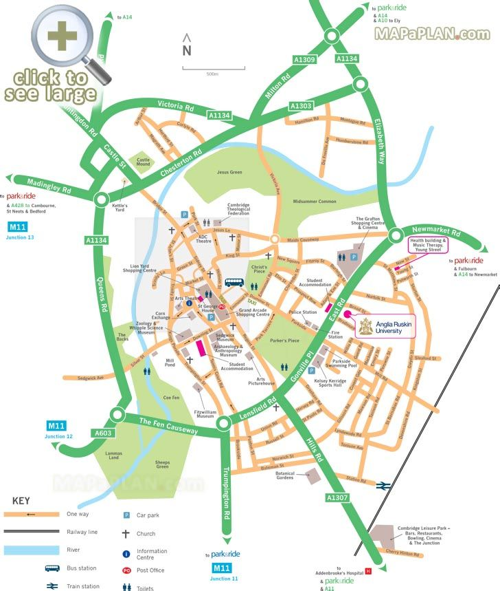 Map showing directions to Park and Ride car park locations ...