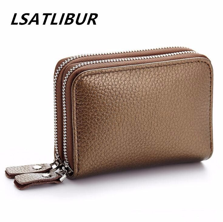 Organ Card 2016 casual Genuine Leather Coin Wallets Fashion Business Men Card and Women Double zipper Holder Credit  Card h37