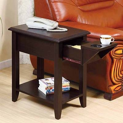 Accent Chairside Sofa Side Snack Table Stand Tea Cup Holder Drawer In Red Cocoa