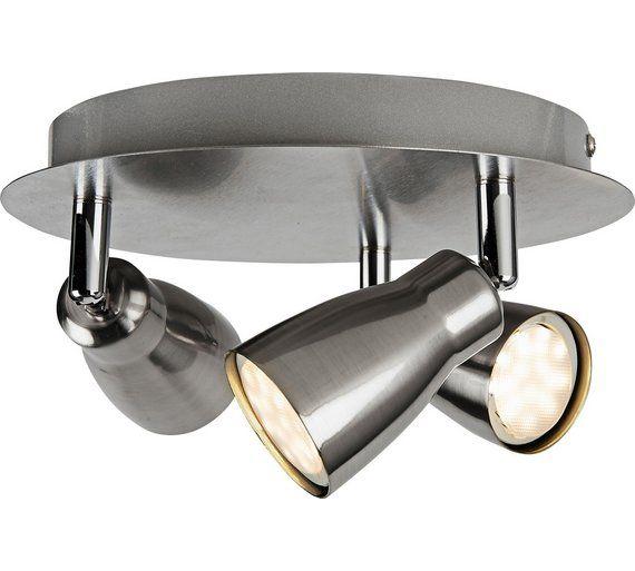 Home Miller 3 Spotlight Ceiling Plate Brushed Chrome