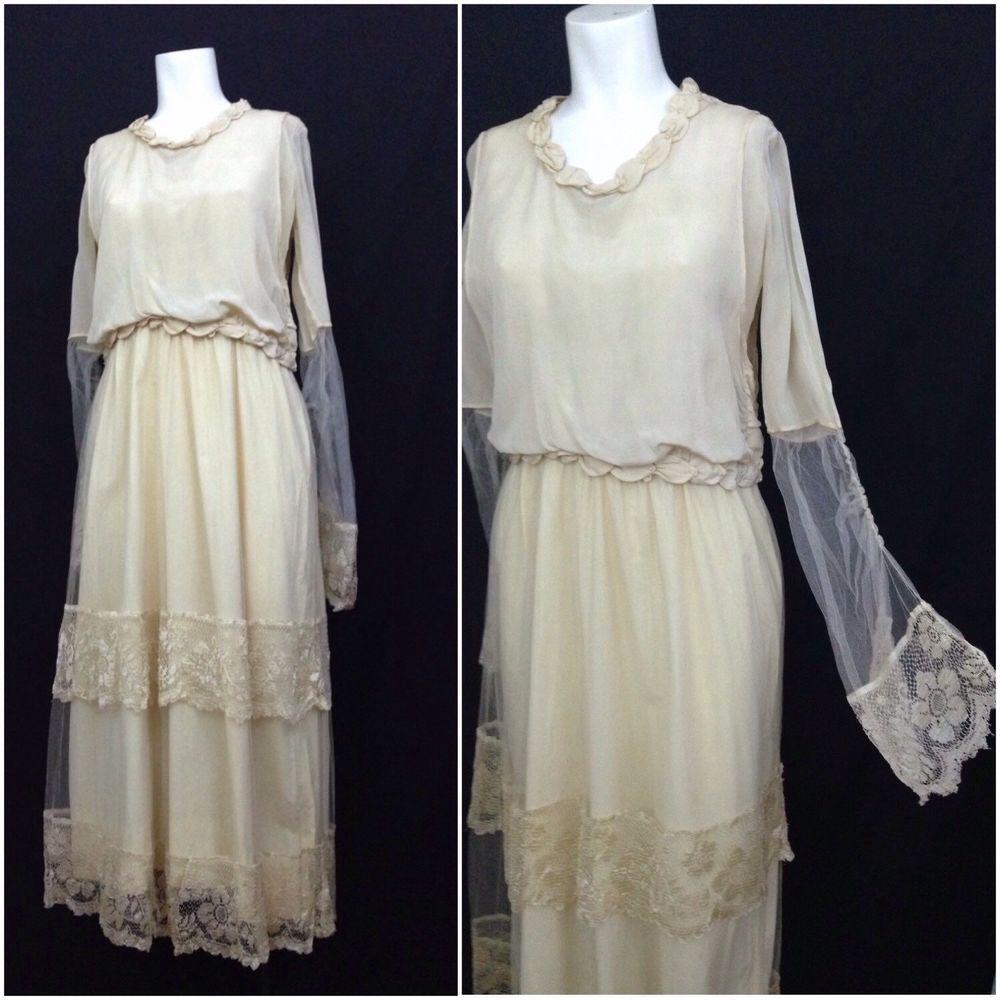 Edwardian s creme silk lace pearl trim tea length wedding dress