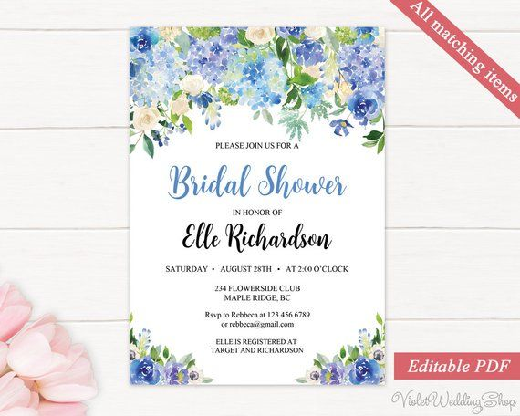 Blue Floral Bridal Shower Invitation Template, Printable Calligraphy