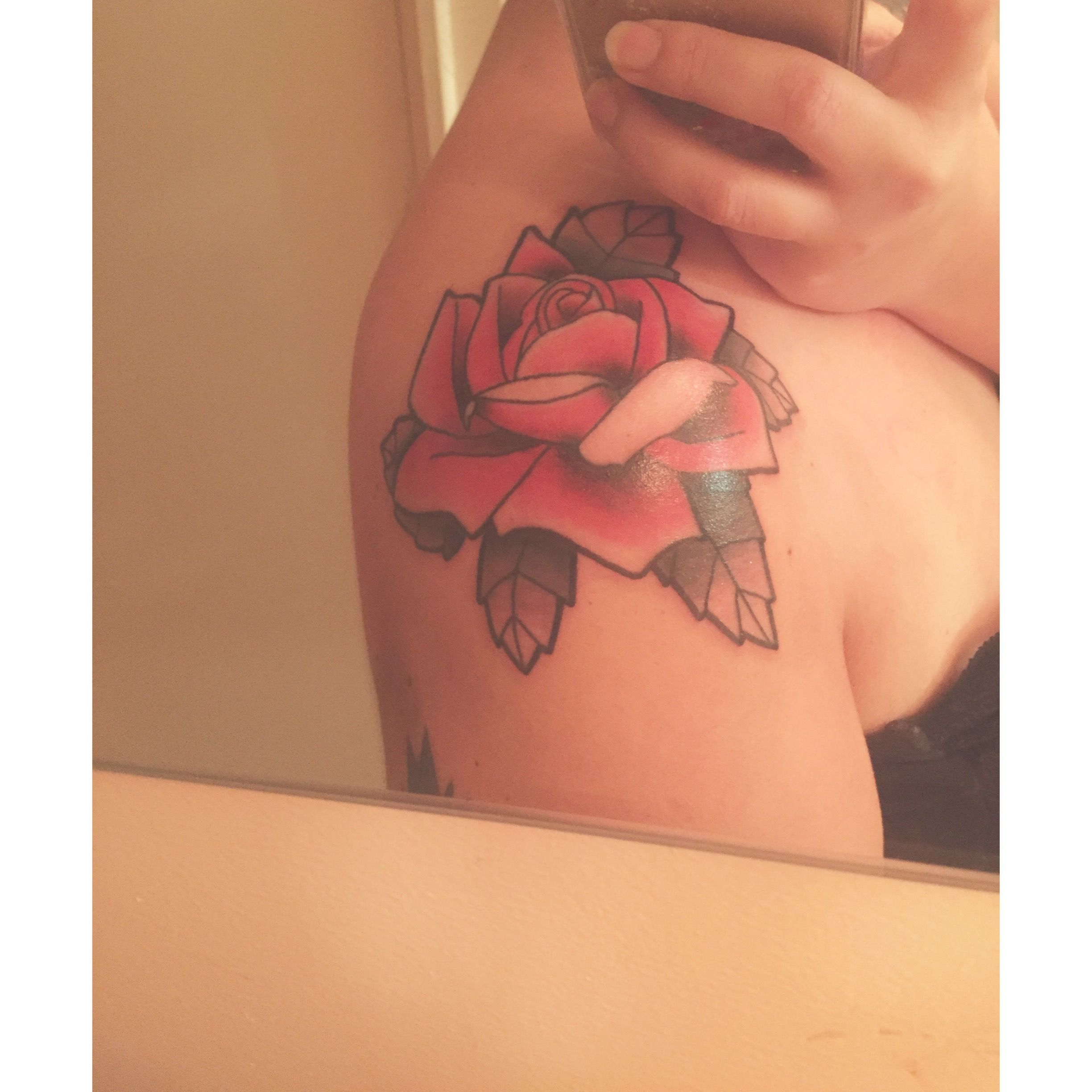 Black and red rose tattoo on shoulder rose tattoo red passion