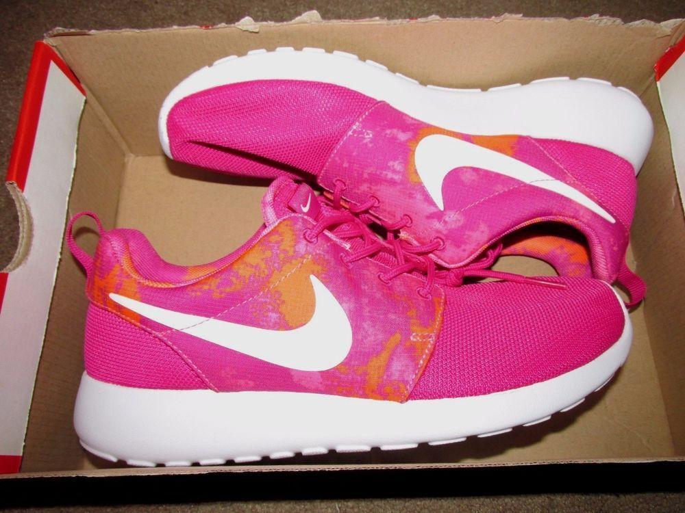 dbfe1ff80ac2b ... Nike Roshe Run One Print Womens Running Shoes 8 Fireberry White Pink  599432 613 Nike ...