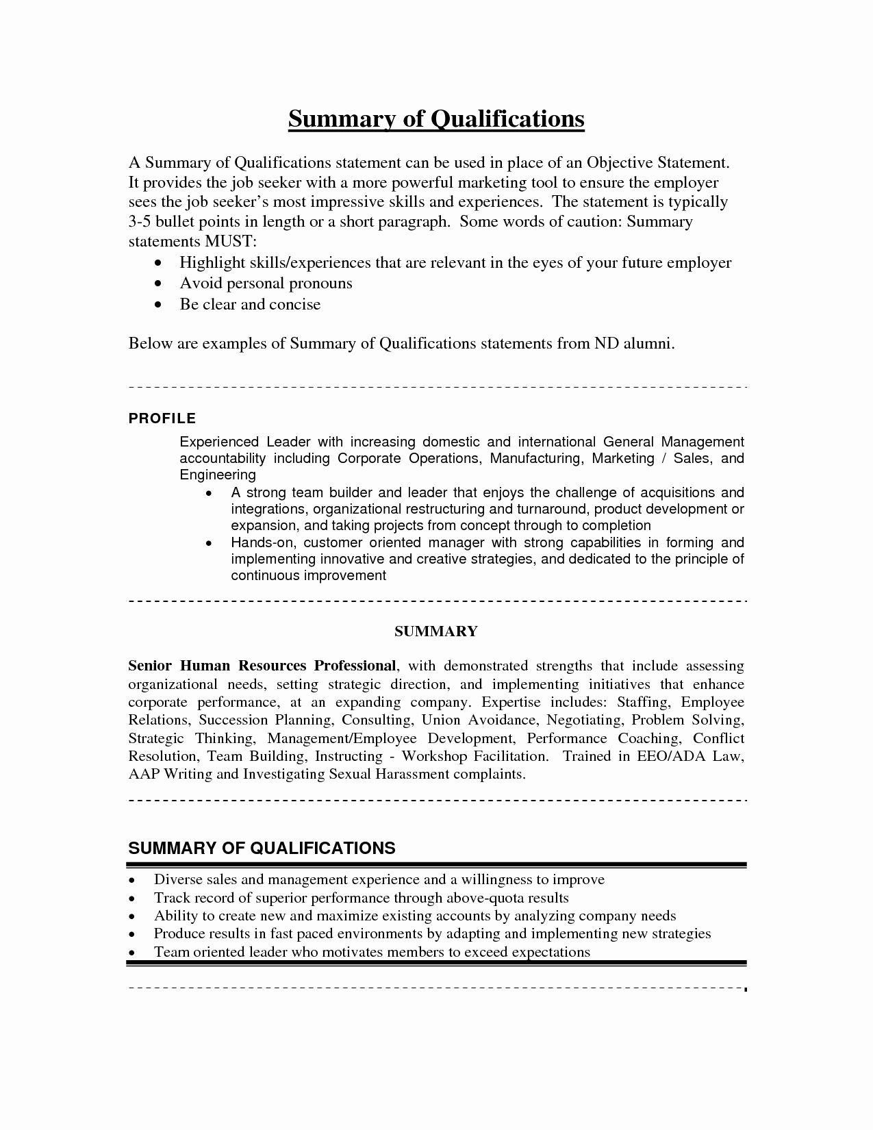 Resume Summary Statement Example Luxury Summary Qualifications