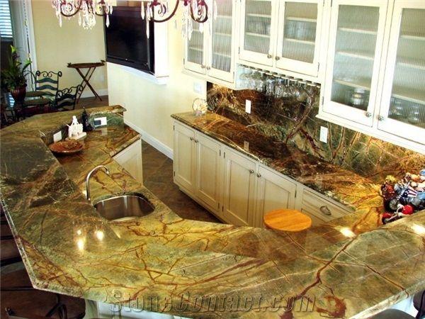 Superior Rainforest Green Marble Countertop, Bidaser Green Marble