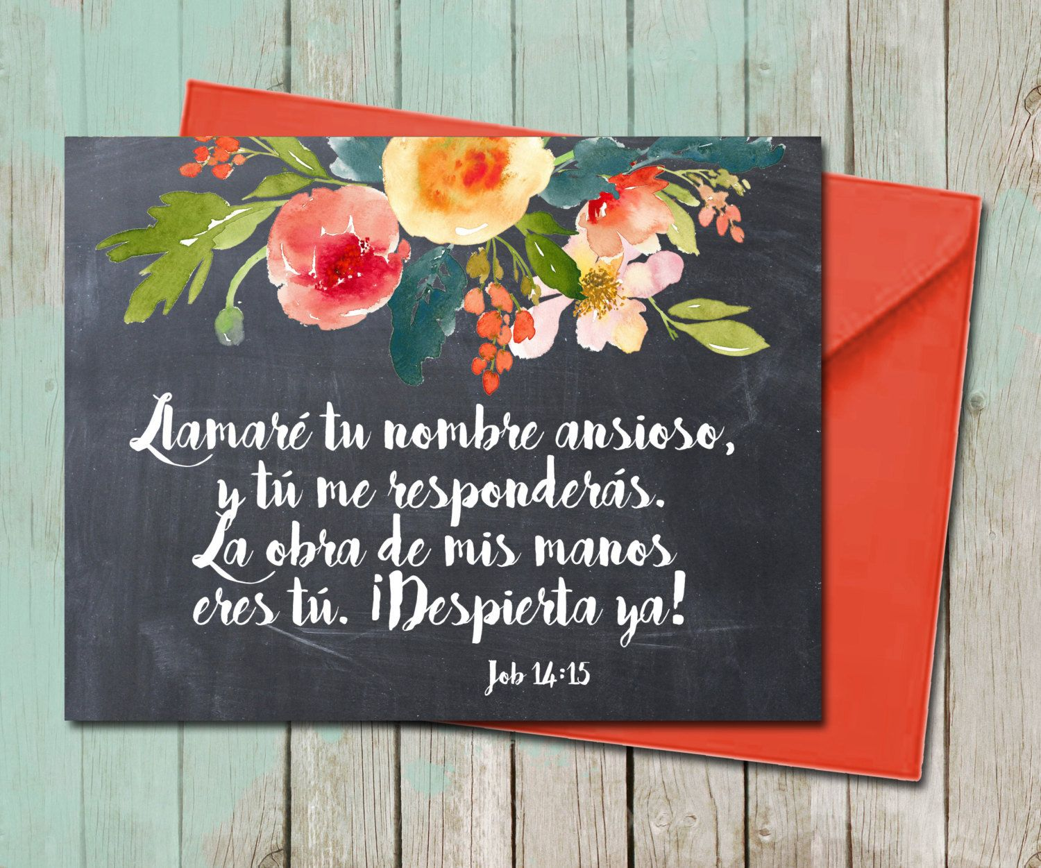 Floral Sympathy Greeting Card Spanish He Will Call Bible Verse