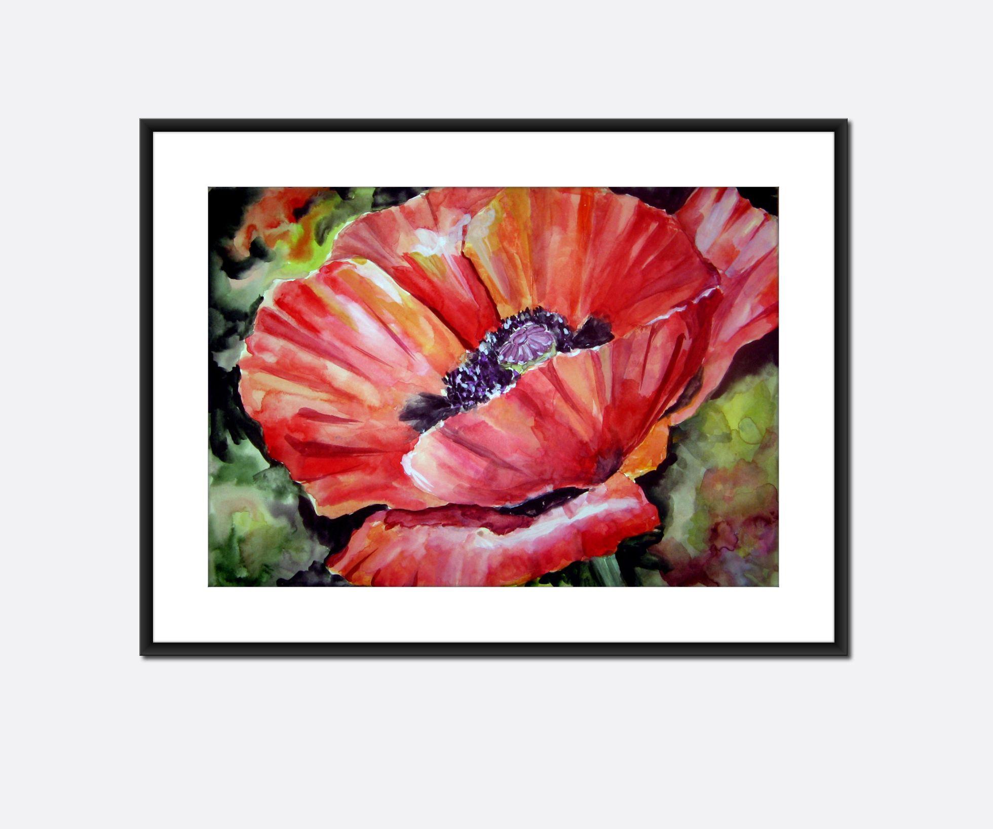 Tulip flower watercolor original painting on paper red black green ...