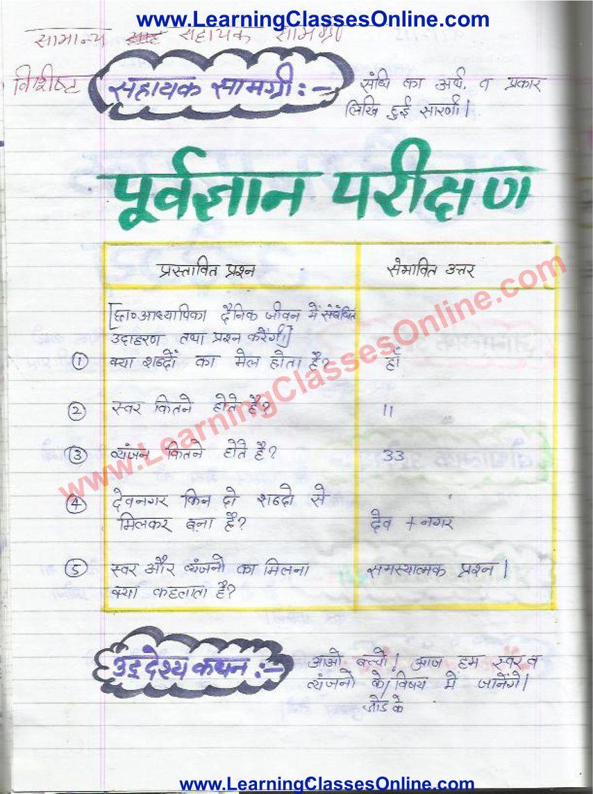 Lesson Plan Of Hindi Grammar On Sandhi For Class 8th Grammar Lesson Plans How To Plan Lesson [ 1143 x 854 Pixel ]