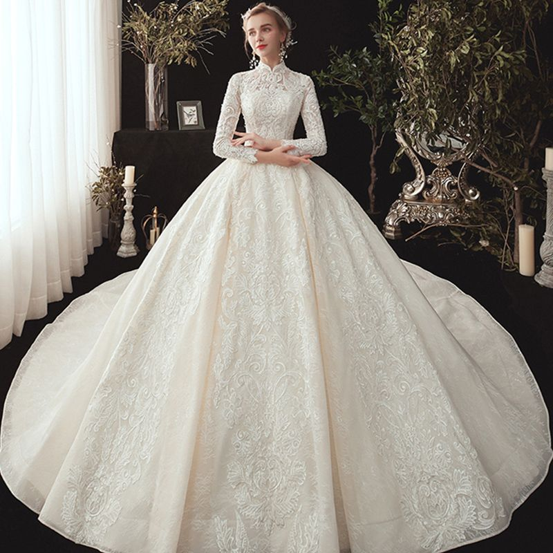 Chinese Style Muslim Champagne Lace Wedding Dresses 2020 Ball Gown High Neck Long Sleeve Appliques Lace Beading Pearl Chapel Train Ruffle In 2020 Ball Gowns Wedding Modest Wedding Dresses Ball Gown Wedding Dress