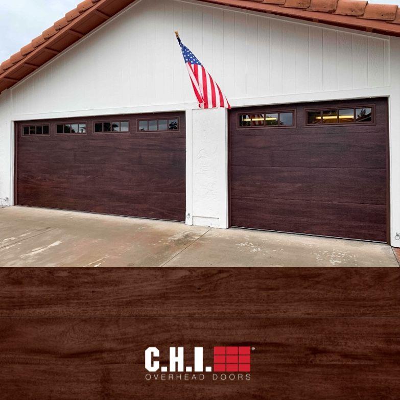 Skyline Flush Garage Door In Mahogany Faux Wood Contemporary Garage Door In 2020 Contemporary Garage Doors Garage Doors Overhead Door
