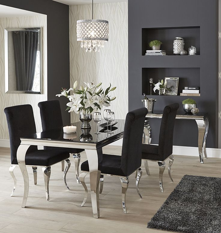 With Sumptuous Black Velvet Chairs, A Stylish Black Tempered Glass Tabletop  And Polished Stainless Steel