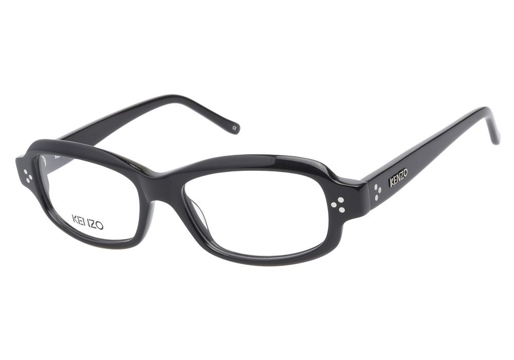 Kenzo 2153H C03 Black eyeglasses are casually smart. This full acetate frame has a glossy black finish with triple silver studs on either side leading into the temples. The arms also have their own st from @CoastalDotCom