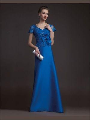 Blue A-line V-neck Lace Satin 2014 Prom Dress