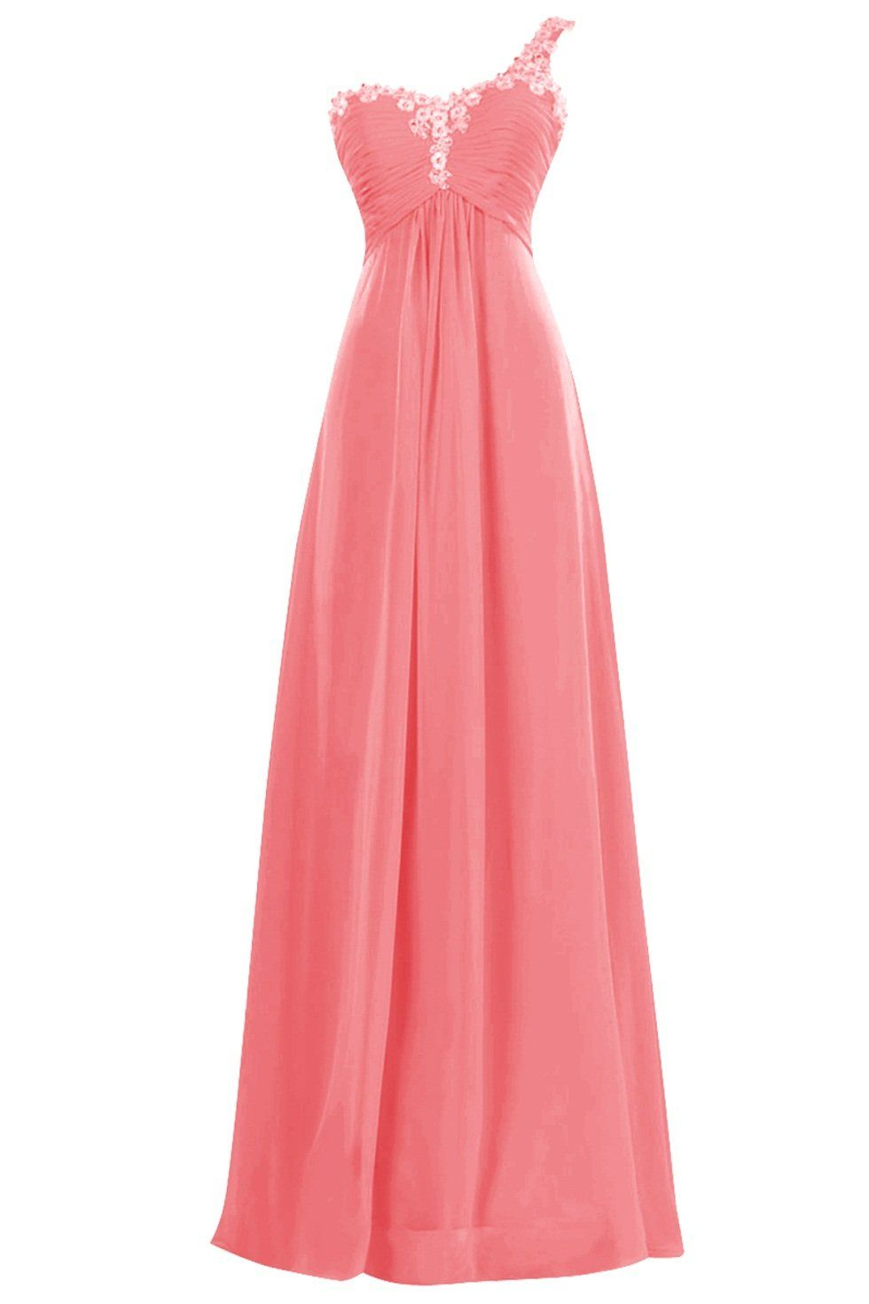 Queenmore womens one shoulder chiffon bridesmaid dress flower queenmore womens one shoulder chiffon bridesmaid dress flower beaded prom gown us16 watermelon ombrellifo Image collections