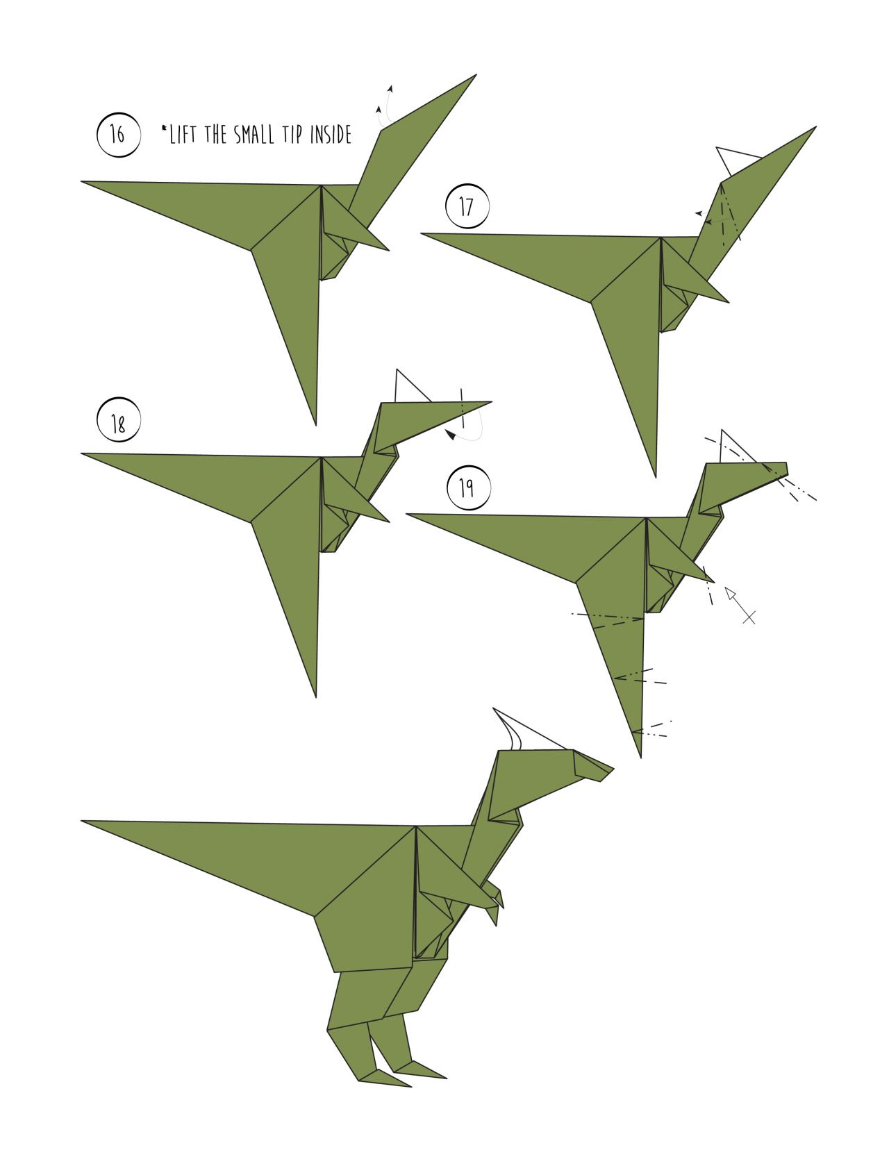 Rawr - Origami Dinosaur! And 2 More Ways to Make an Origami Dinosaur. #dinosaur