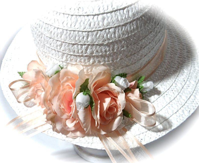 Girl S Peach Easter Hat Flower Girl Hats Tea Party Hat Etsy In 2021 Tea Party Hats Flower Hats Girl With Hat