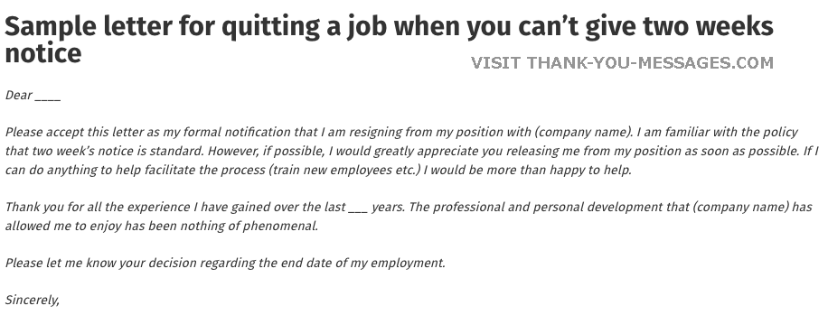 Need A Sample Letter For Quitting A Job This Article Will Make