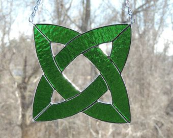 Celtic Knot Stained Glass Suncatcher Panel by HillLillyDesigns