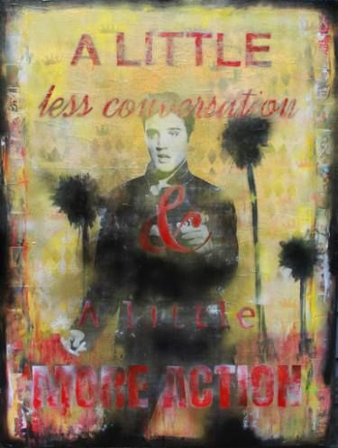 "Saatchi Art Artist Cabell Molina; Collage, ""A Little More Action Elvis"" #art"