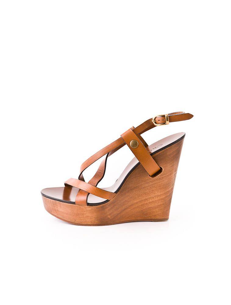 Chloé Wooden Wedge Sandal