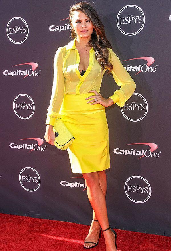 Yellow dress black bra