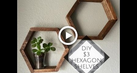 DOLLAR TREE HEXAGON SHELVES MADE FROM POPSICLE STICKS! -   22 diy Shelves popsicle sticks ideas