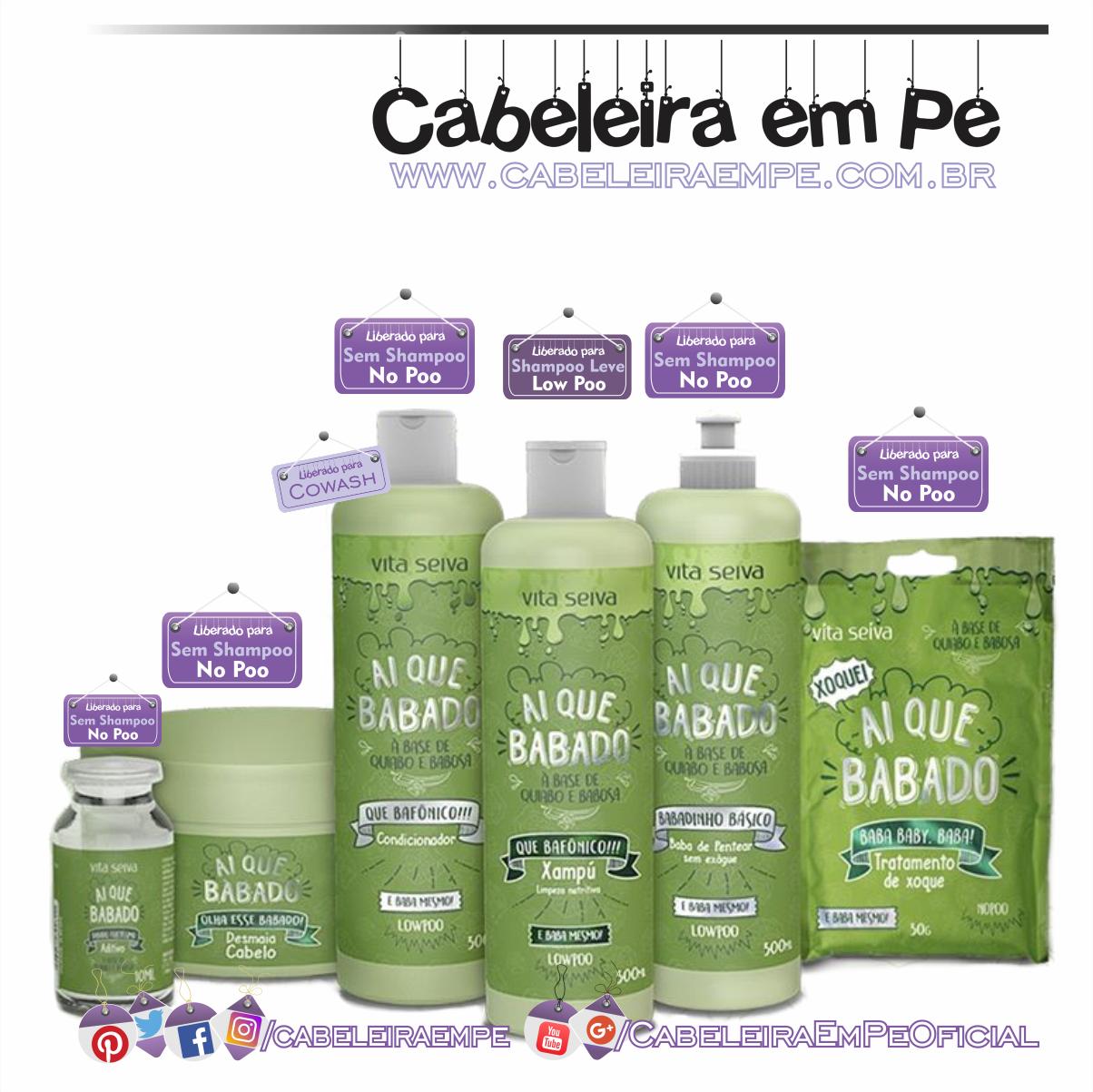 912eee79a Linha Ai que Babado Vita Seiva (Shampoo liberad para Low Poo - Máscara,  Aditivo