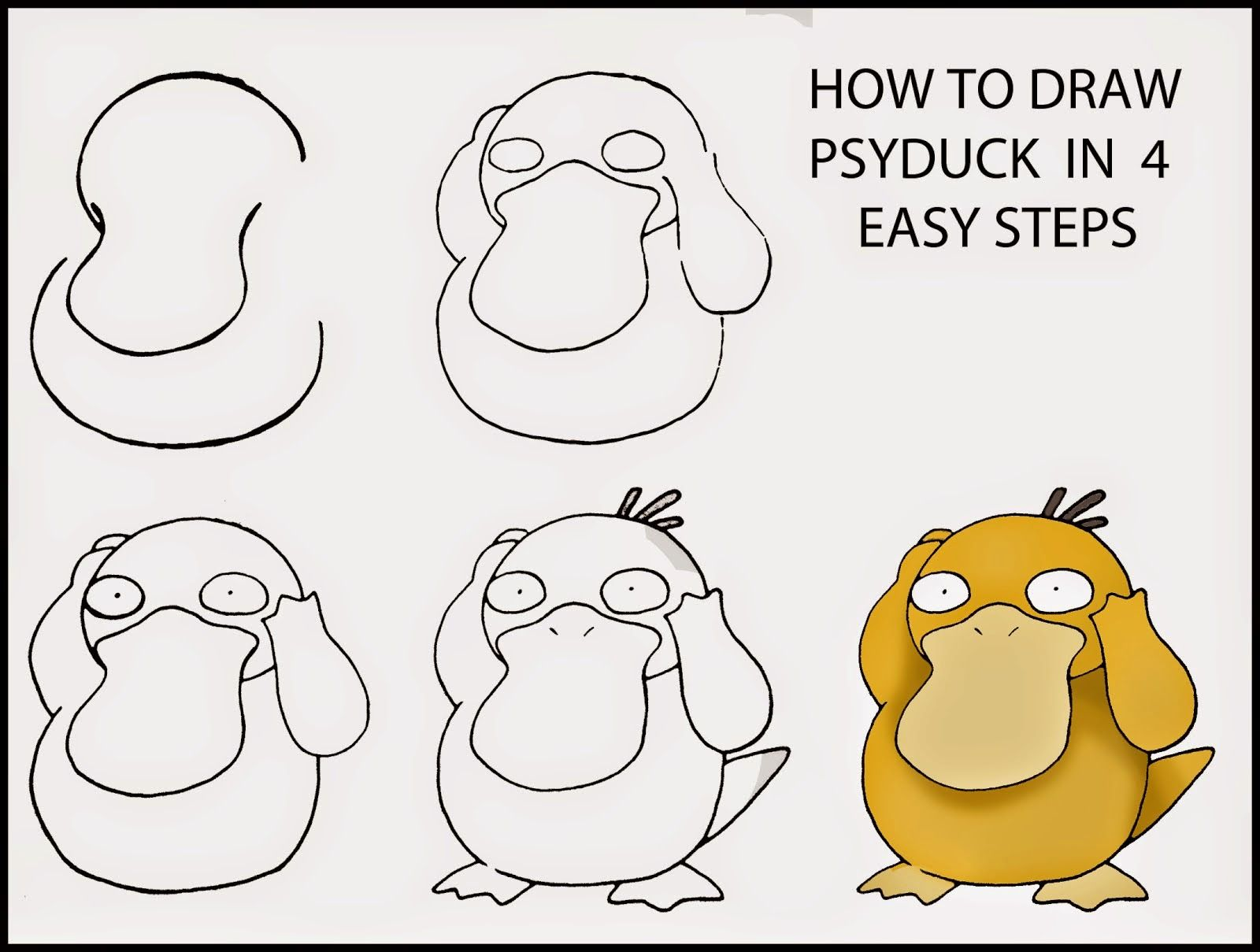 How to draw psyduck in four stages