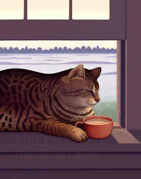 la firmado Lámina mañana con de café Taza gato Acogedor ZqwS06W5