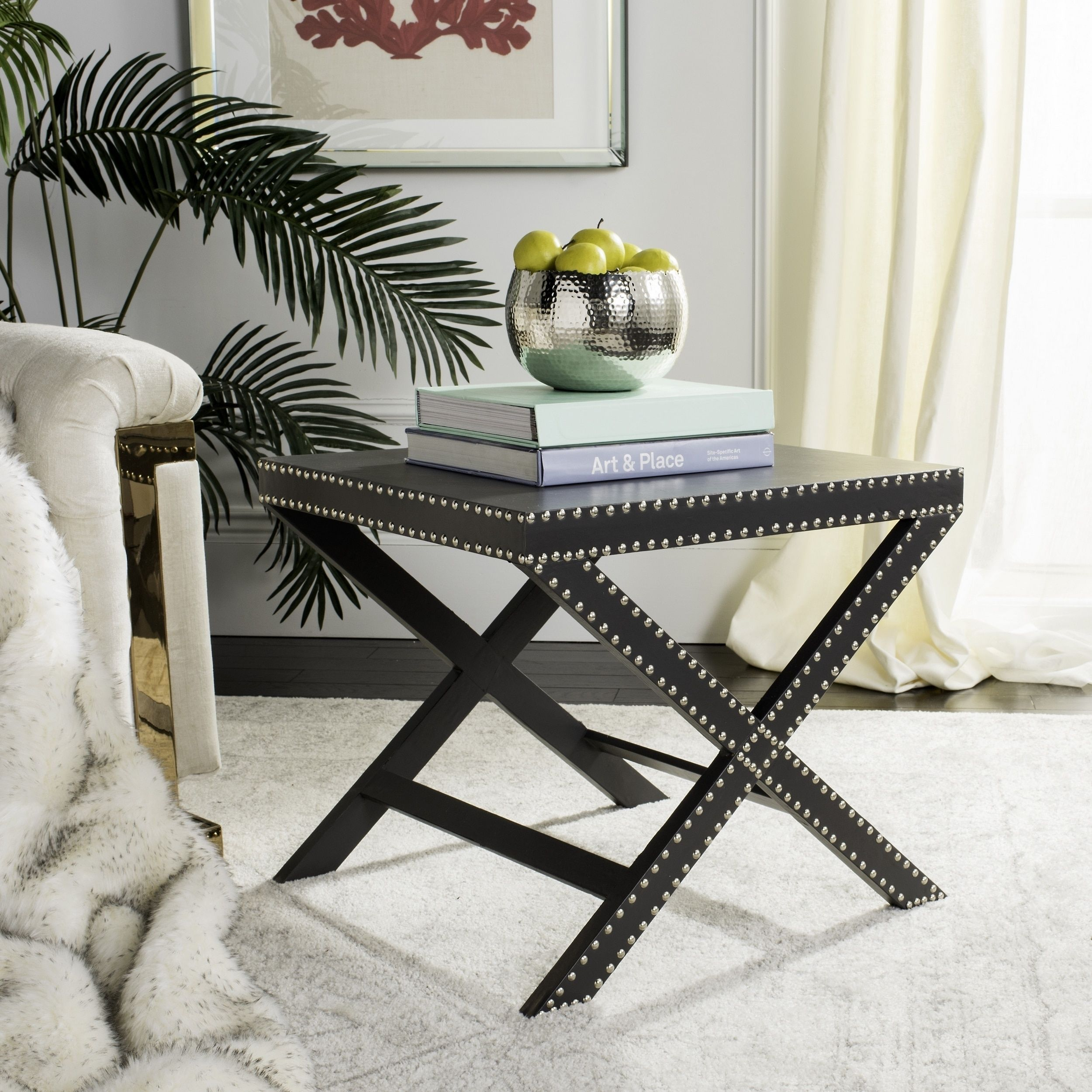 Safavieh jeanine grey x bench foxa bench furniture outlet