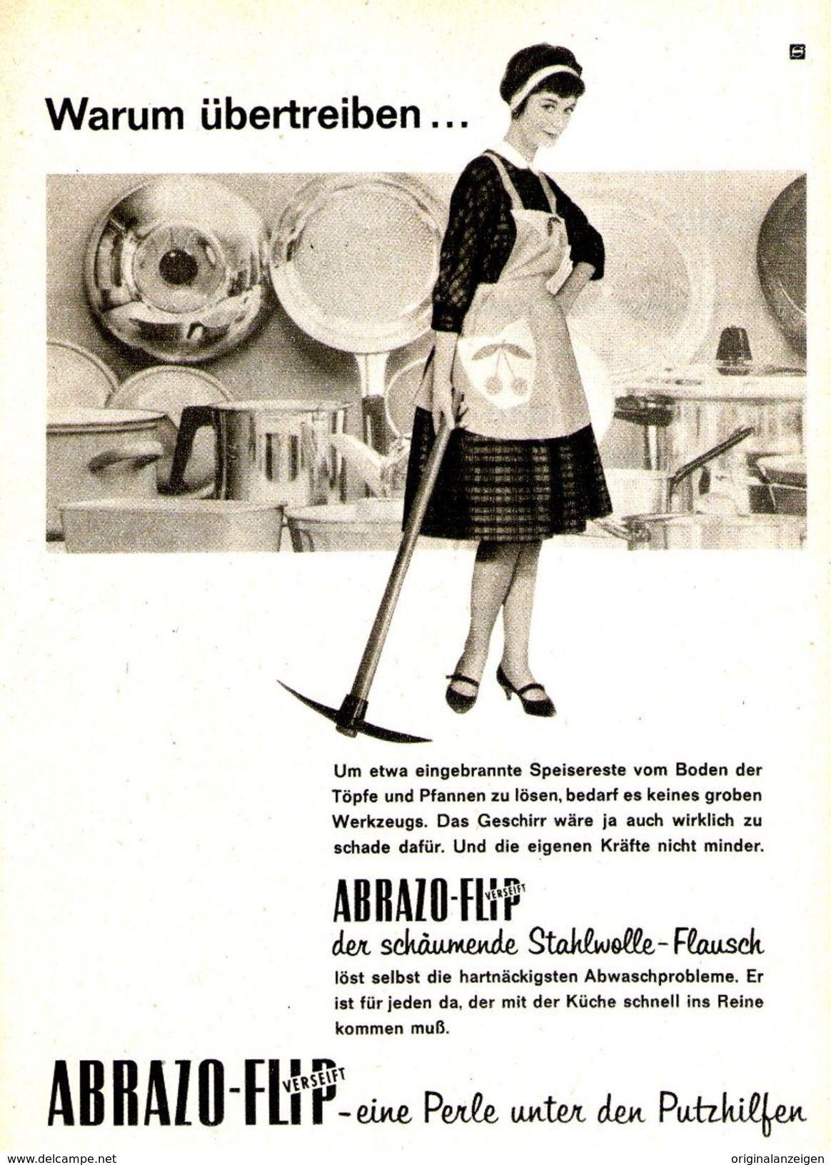 OriginalWerbung/ Anzeige 1961 ABRAZOFLIP STAHLWOLLE