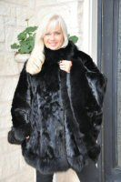 Shanice Black Mink Section Cape With Fox Trim 36""