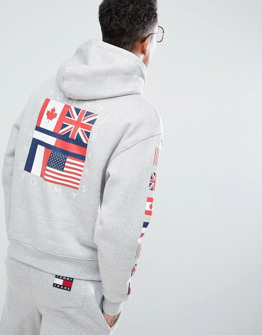check out b413c 876ad Tommy Jeans 90 s Capsule Hoodie Sleeve and Back Flag Logo in Gray Marl