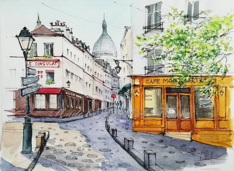 Paris Painting Original Watercolor Cityscape Montmartre Painting