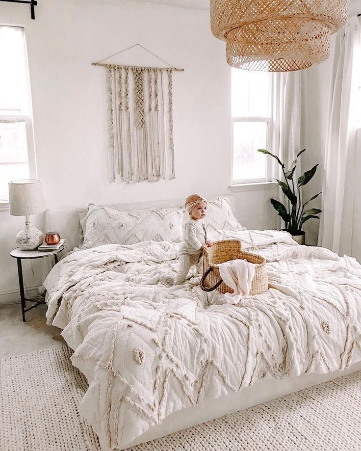 big bed, white vibes decor family bedroom is part of Home decor -