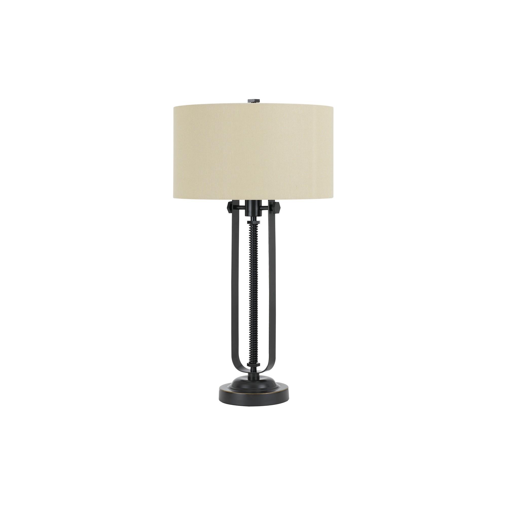 Way Foggia Metal Table Lamp With Hardback Burlap Shade 150w 3