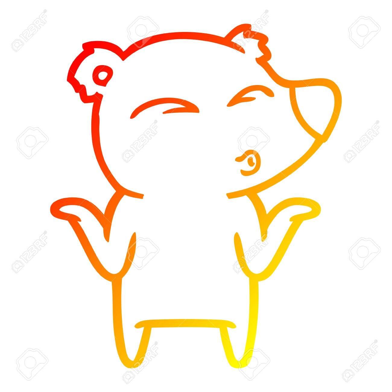 warm gradient line drawing of a cartoon bear shrugging ,