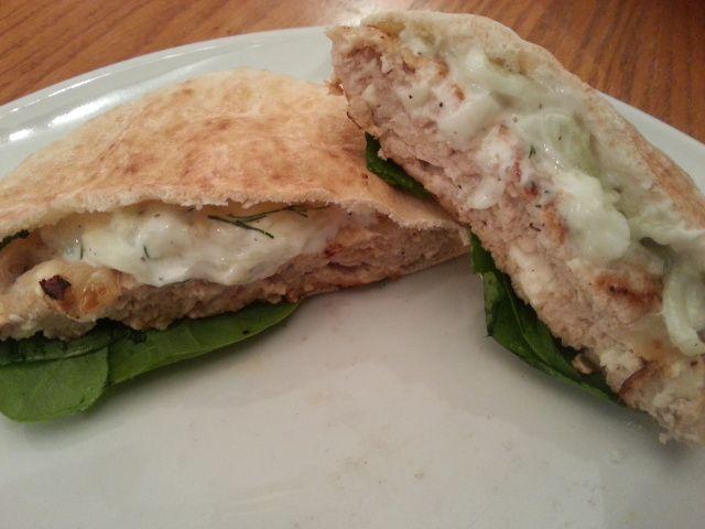 Greek style burger with tzatziki