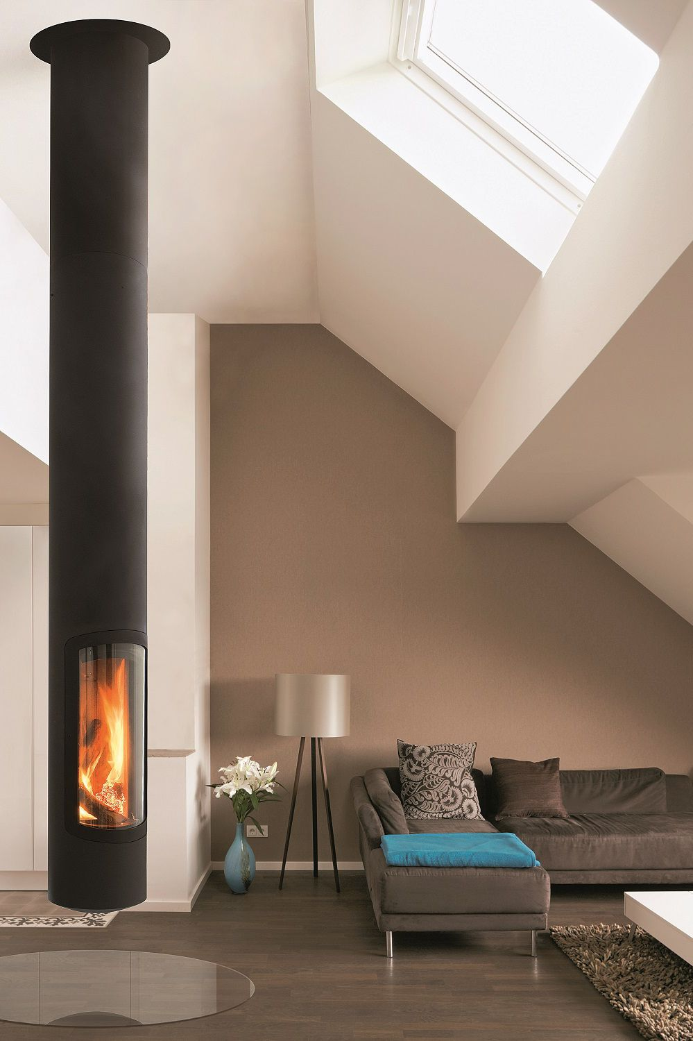 Woodburning central hanging fireplace SLIMFOCUS by Focus