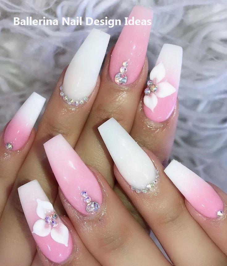 Trendy Ballerina Nail Art 2019 Nailart Nailideas Coffin Nails Designs White Acrylic Nails Pink Ombre Nails