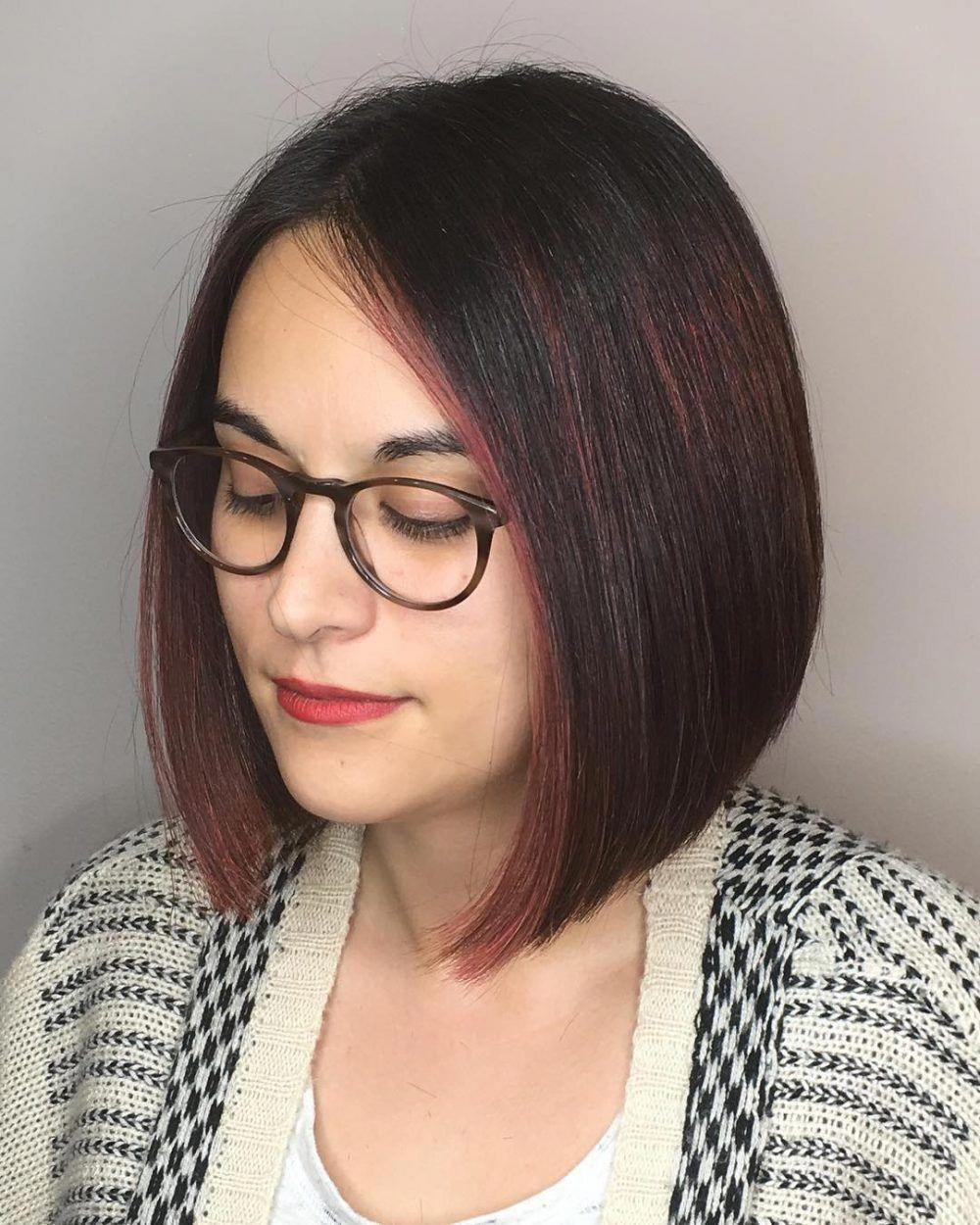 Customizable Dark Red Graduated Bob With Glasses Shorthairstyles Bob Hairstyles For Round Face Red Bob Hair Bob Haircut For Round Face
