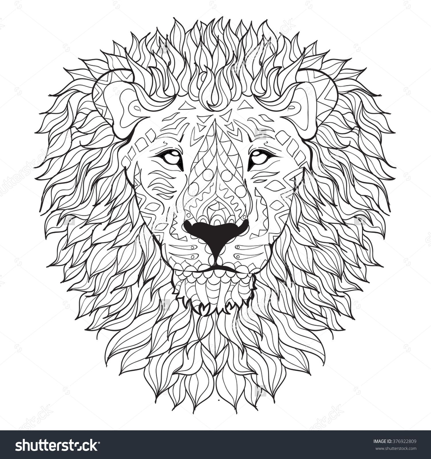 Coloring Pages Lion Head. Hand Drawn Lion Head  Isolated On Transparent Background Anti Stress Coloring Page Vector Monochrome