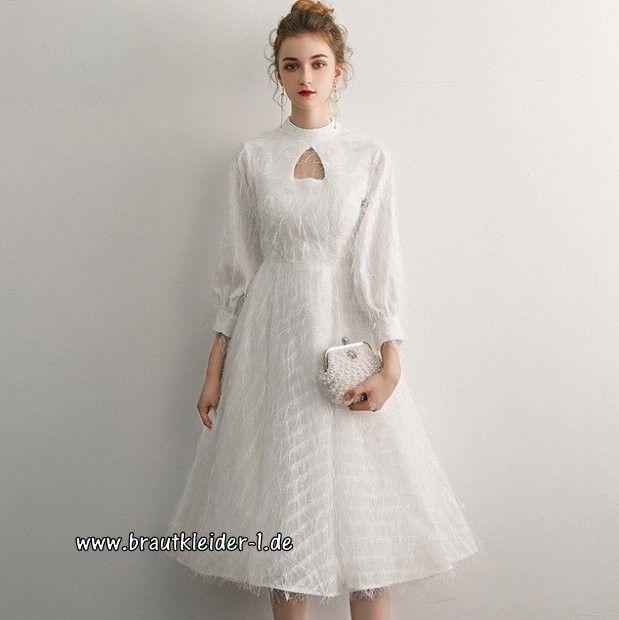 elegantes a linie midi standesamt kleid brautkleid mit