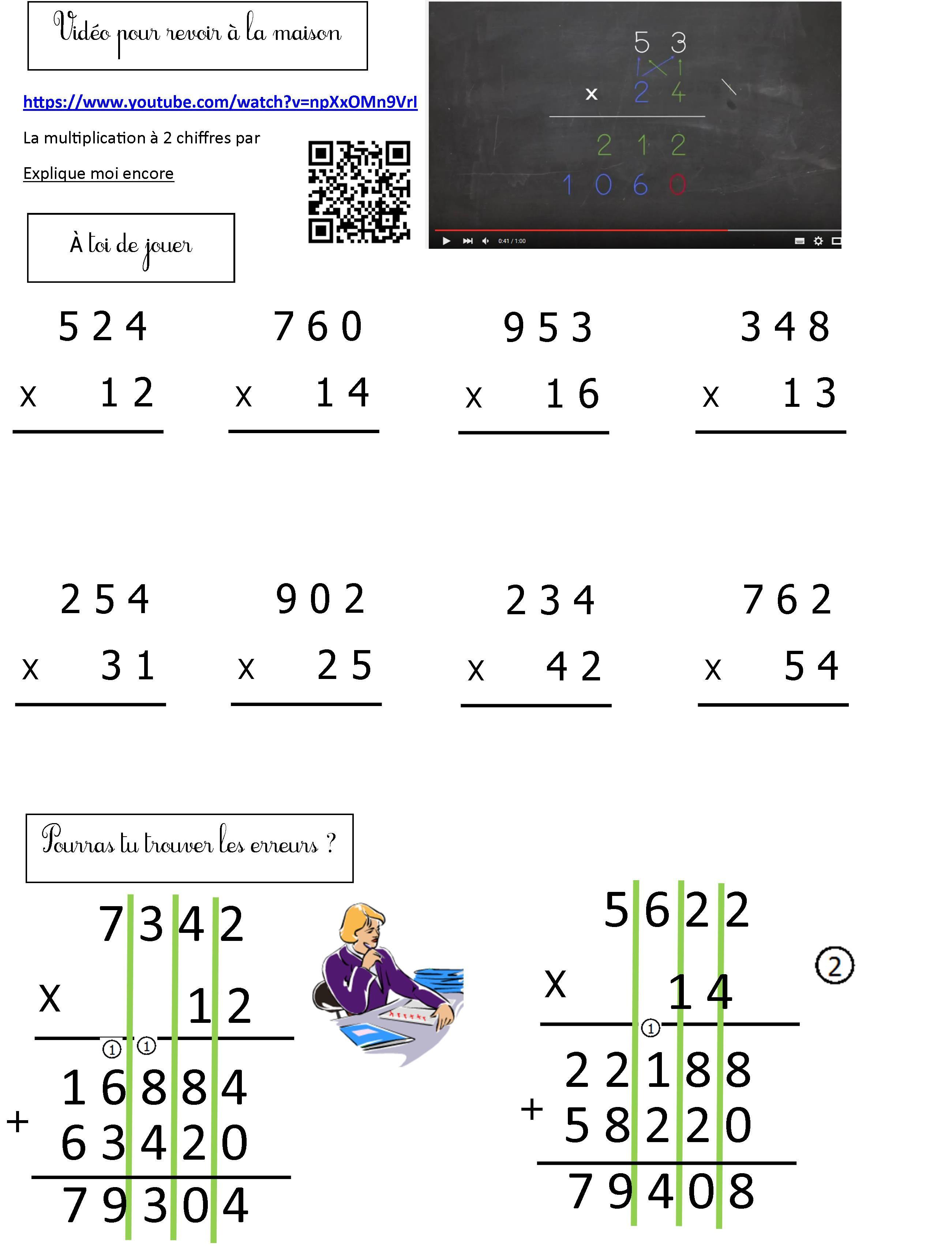 Multiplication A 2 Chiffres Bis Mathematiques Ce2 Calcul Ce2 Exercice Ce2