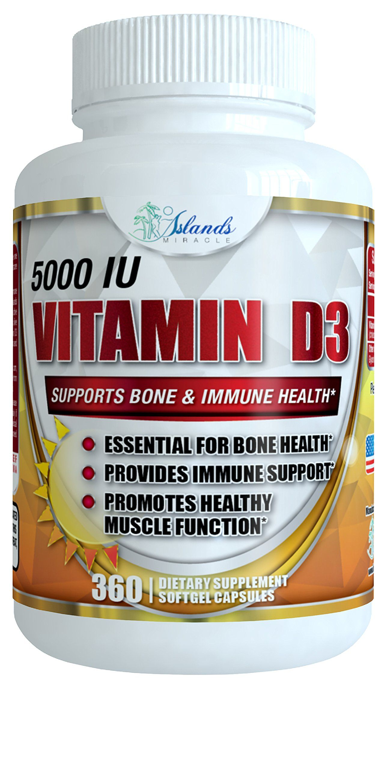 Vitamin D3 5000 IU 360 softgels Vitamin D in Organic Olive
