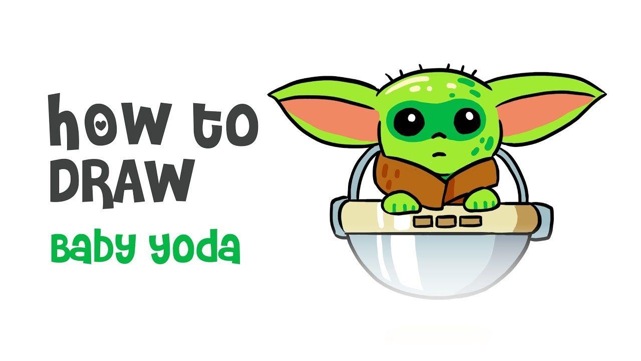 How To Draw Baby Yoda For Kids Youtube Yoda Drawing Baby Drawing Yoda